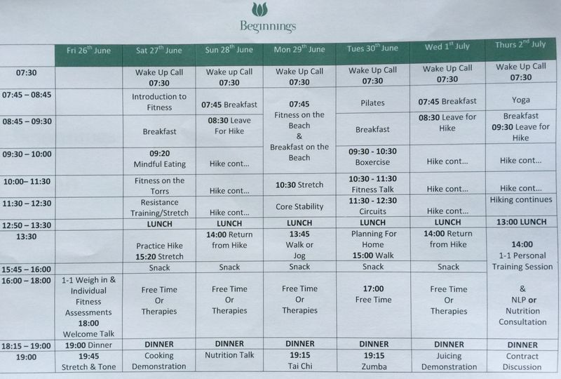 NuBeginnings Timetable
