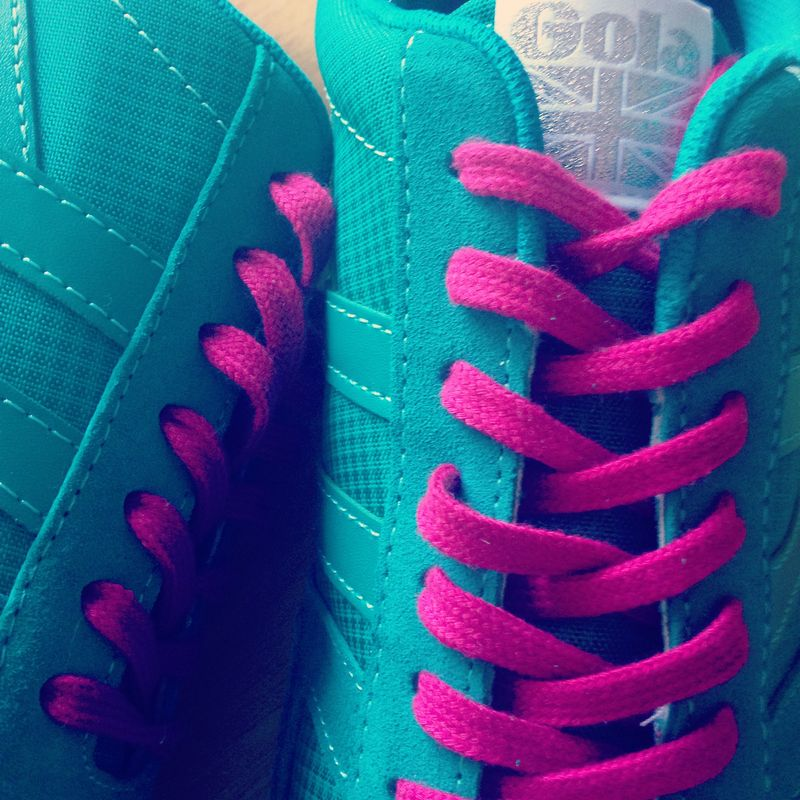 Bright Blue Pink Sneakers