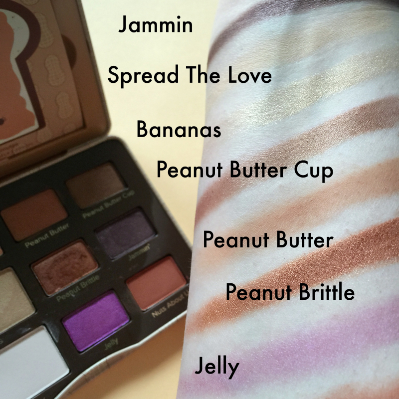 Too Faced Peanut Butter And Jelly Swatches